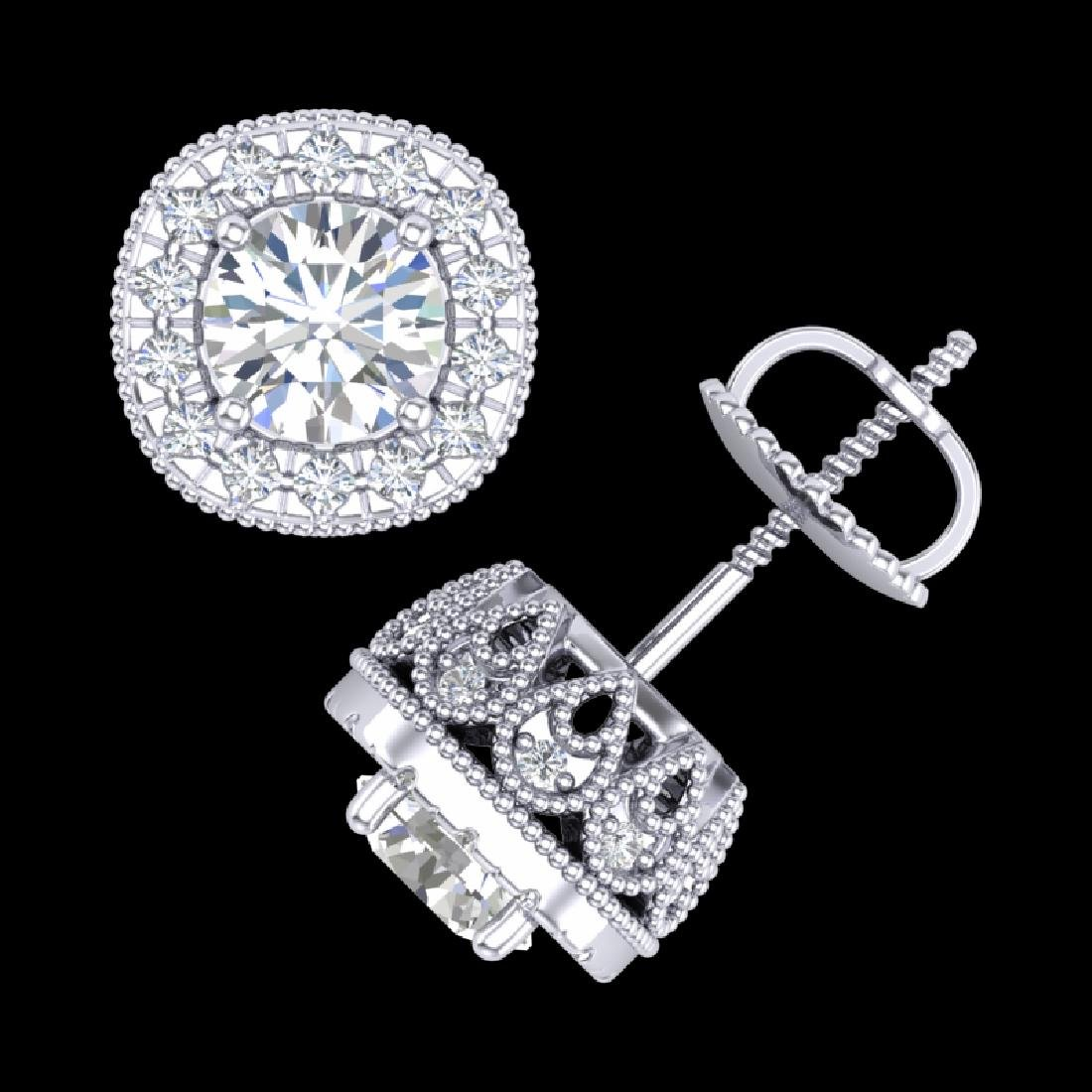 1.69 CTW VS/SI Diamond Solitaire Art Deco Stud Earrings - 3