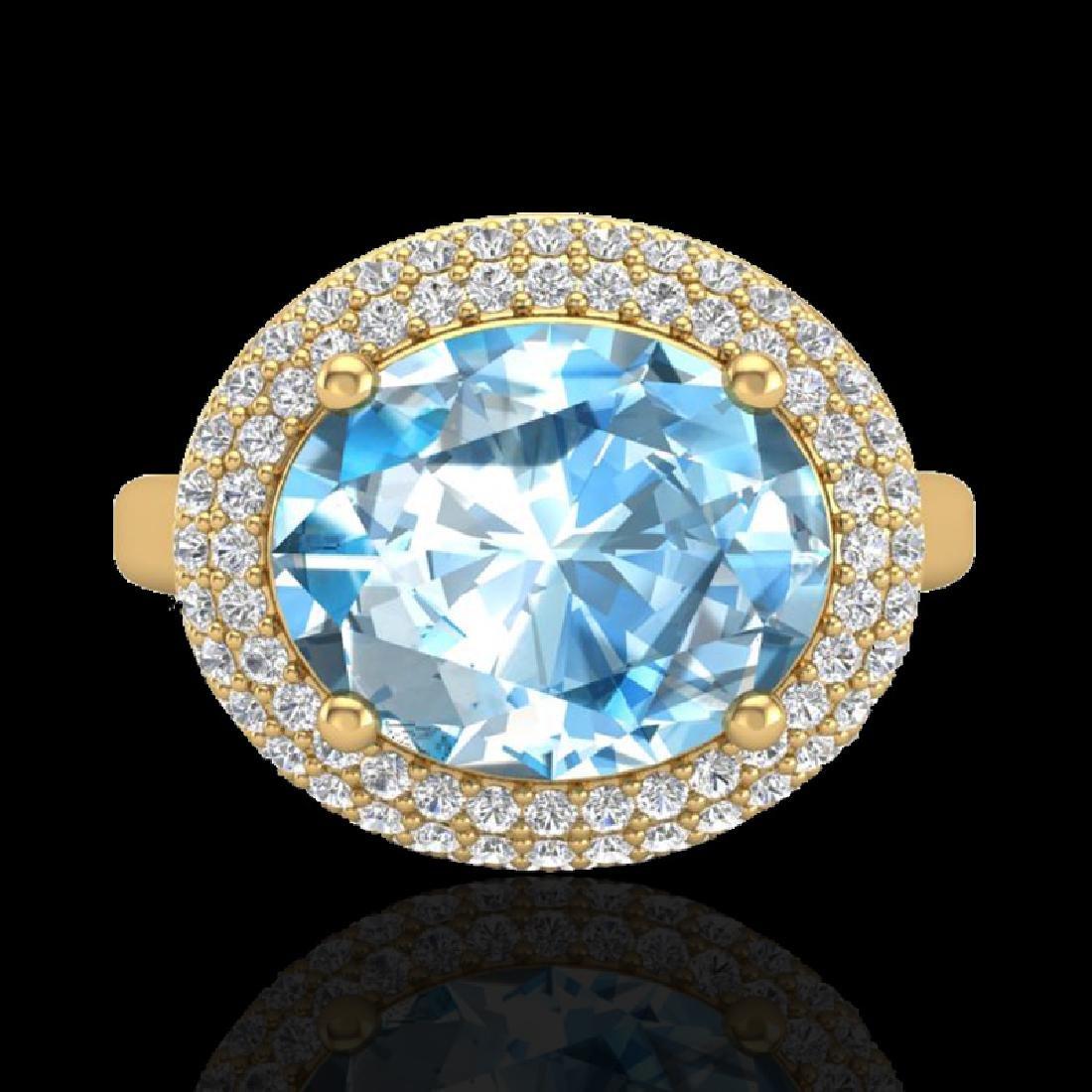 5 CTW Sky Blue Topaz & Micro Pave VS/SI Diamond Ring - 2