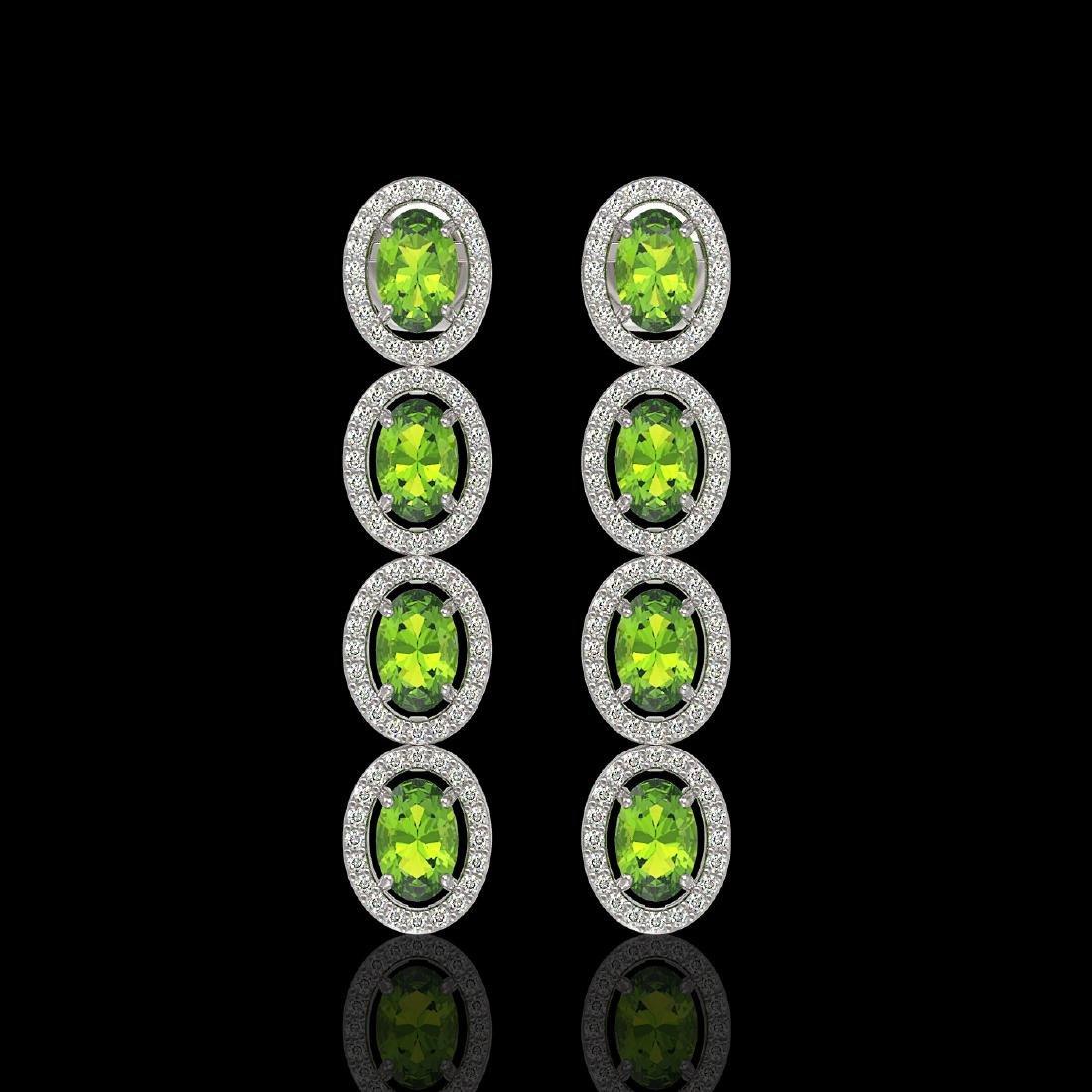 5.88 CTW Peridot & Diamond Halo Earrings 10K White Gold