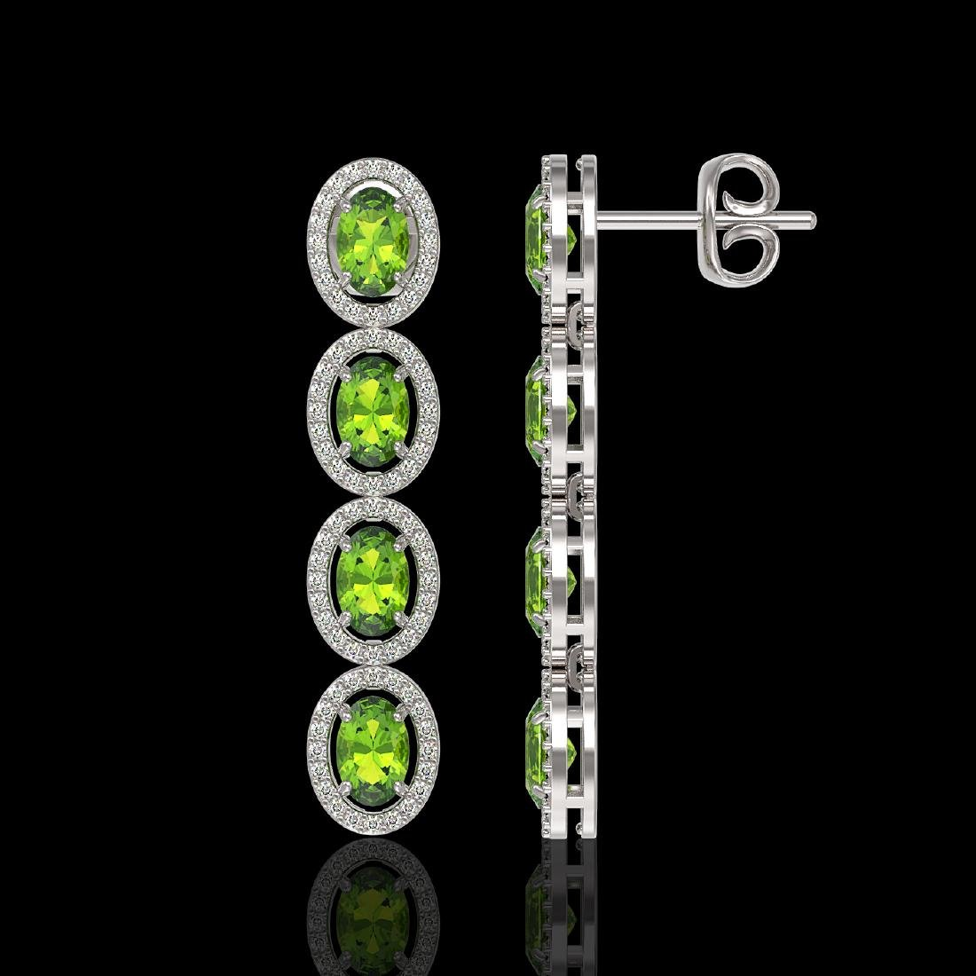 5.88 CTW Peridot & Diamond Halo Earrings 10K White Gold - 2