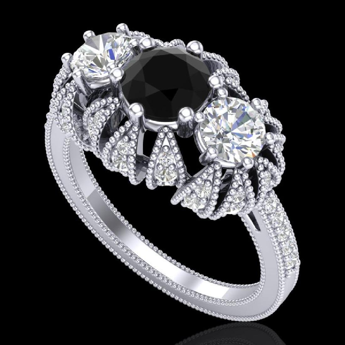 2.26 CTW Fancy Black Diamond Art Deco Micro Pave 3