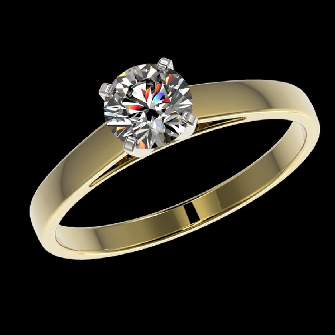 0.77 CTW Certified H-SI/I Quality Diamond Solitaire - 2