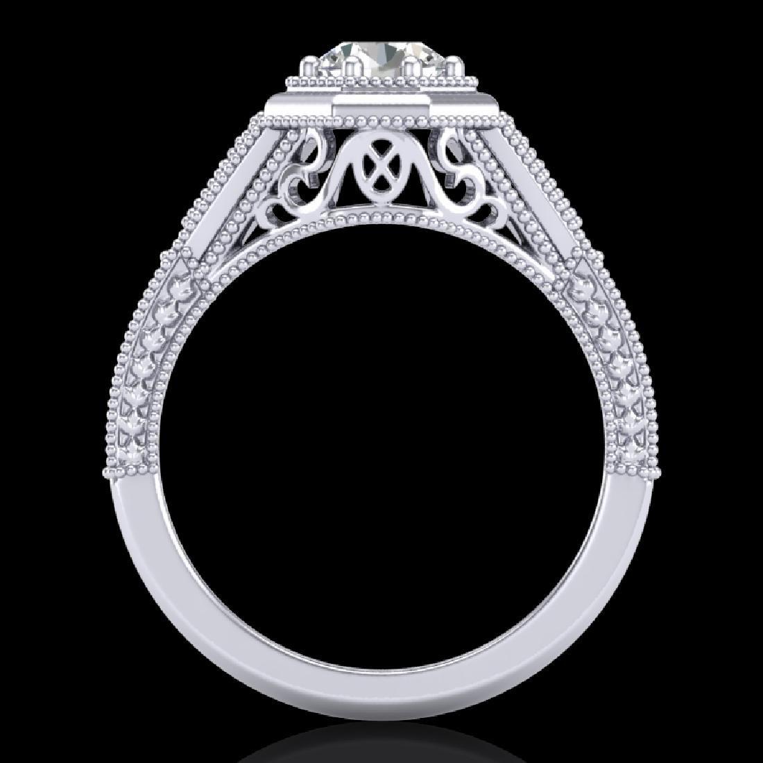 0.84 CTW VS/SI Diamond Solitaire Art Deco Ring 18K