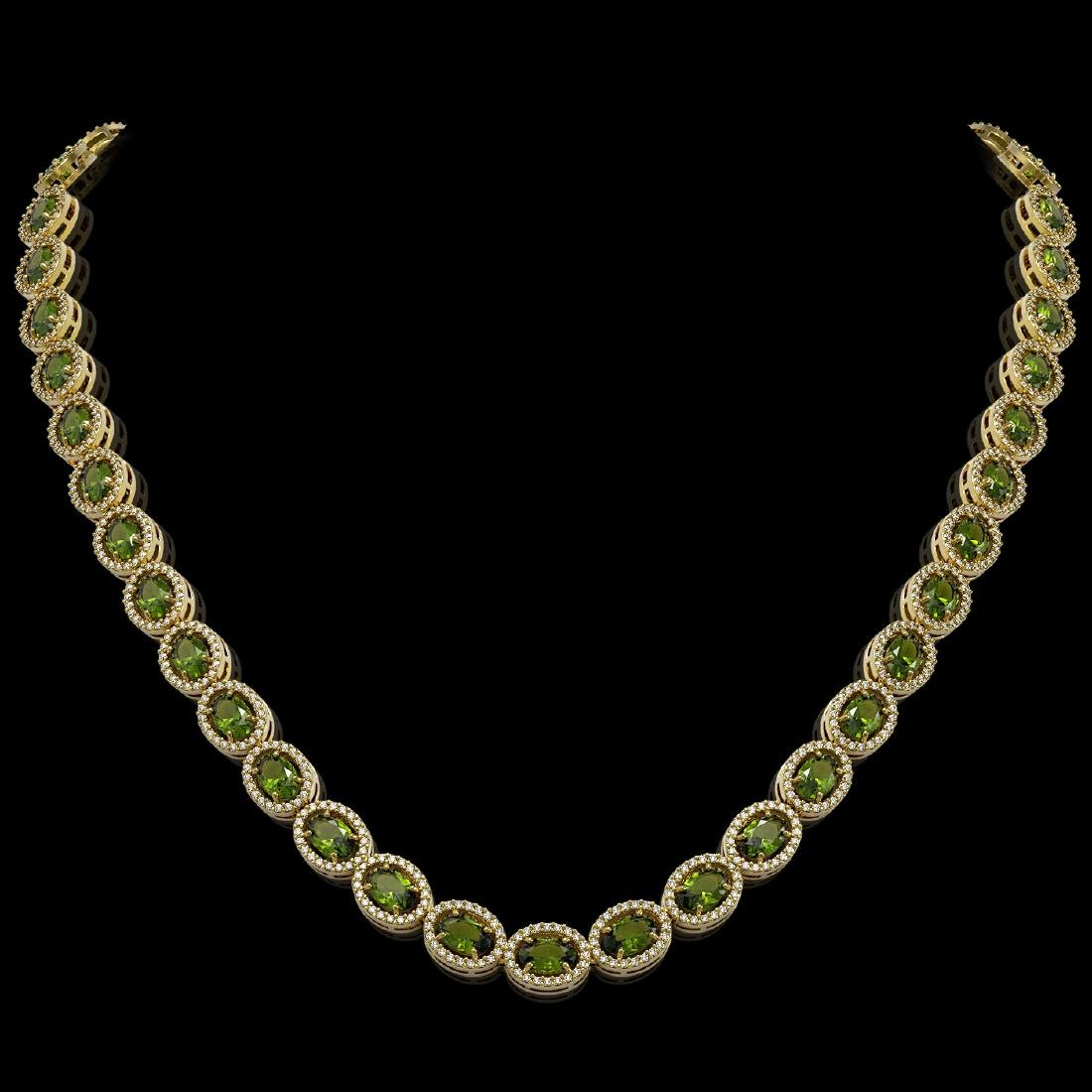 31.1 CTW Tourmaline & Diamond Halo Necklace 10K Yellow