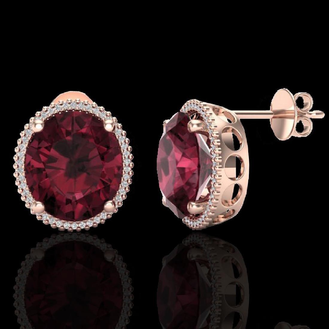 20 CTW Garnet & Micro Pave VS/SI Diamond Halo Earrings - 2