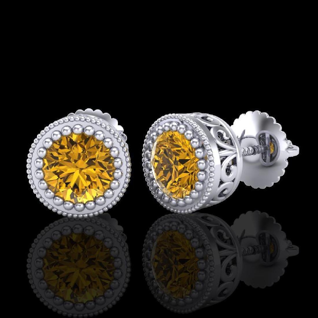 1.09 CTW Intense Fancy Yellow Diamond Art Deco Stud - 2