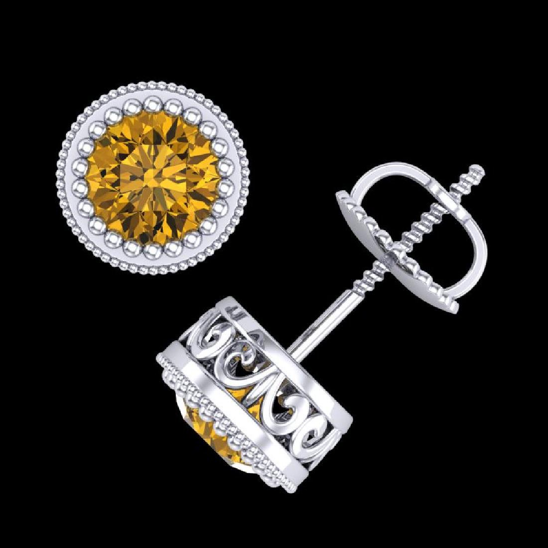1.09 CTW Intense Fancy Yellow Diamond Art Deco Stud - 3