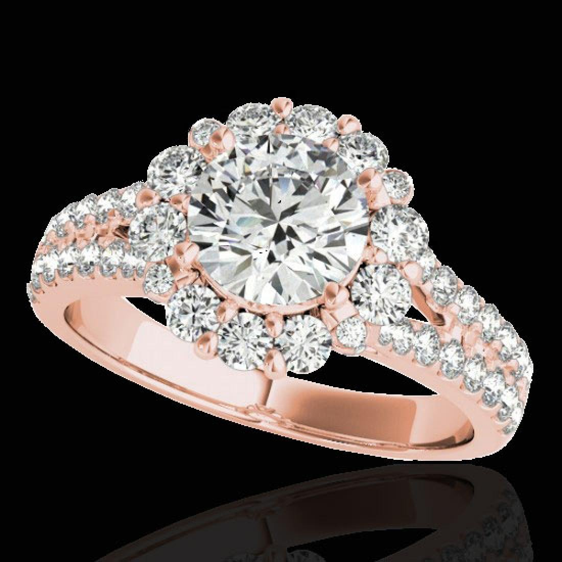2.51 CTW H-SI/I Certified Diamond Solitaire Halo Ring
