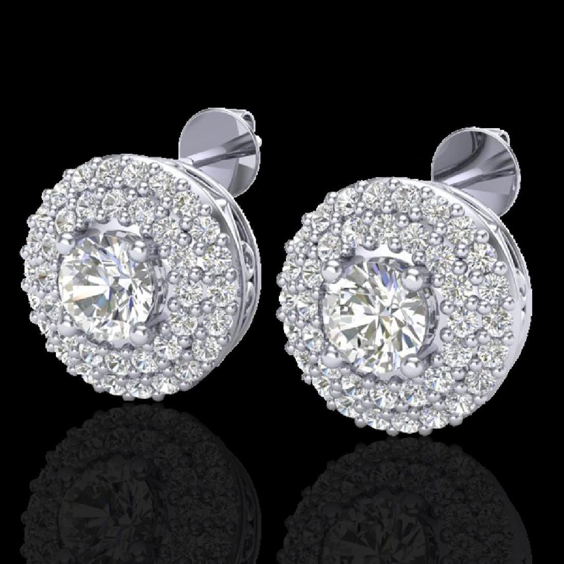 1.20 CTW Micro Pave VS/SI Diamond Earrings 18K White
