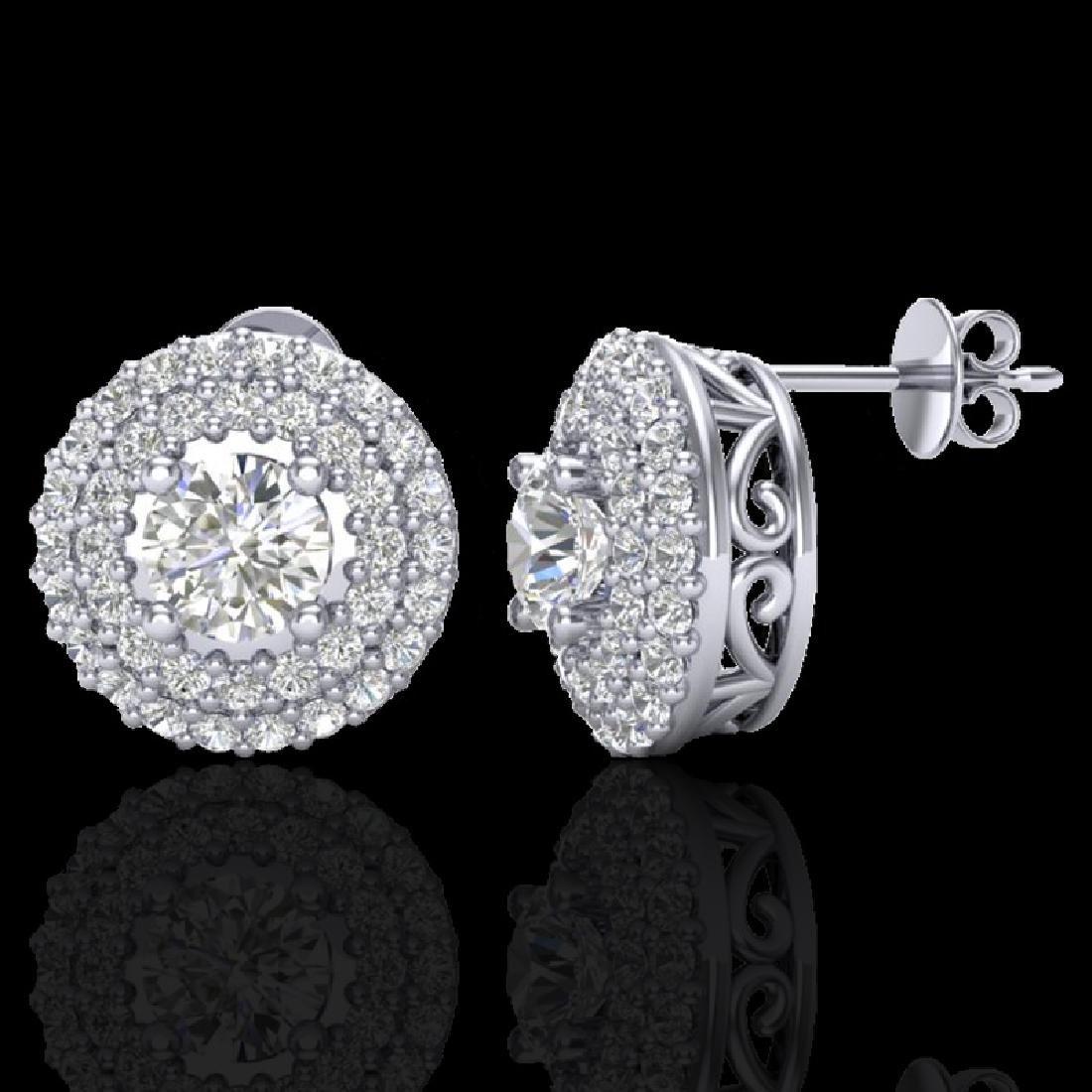 1.20 CTW Micro Pave VS/SI Diamond Earrings 18K White - 2