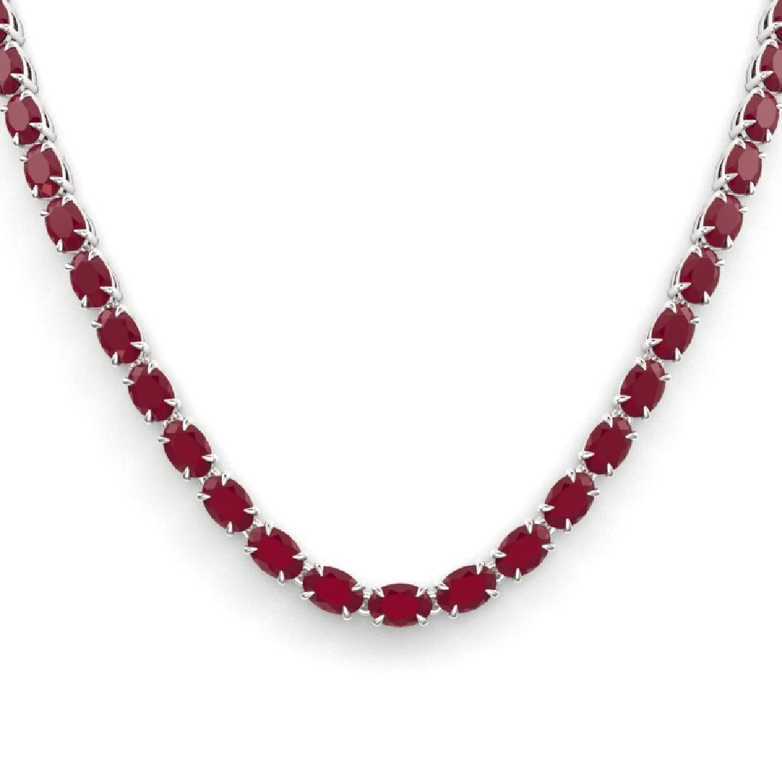 40 CTW Ruby Eternity Tennis Necklace 14K White Gold