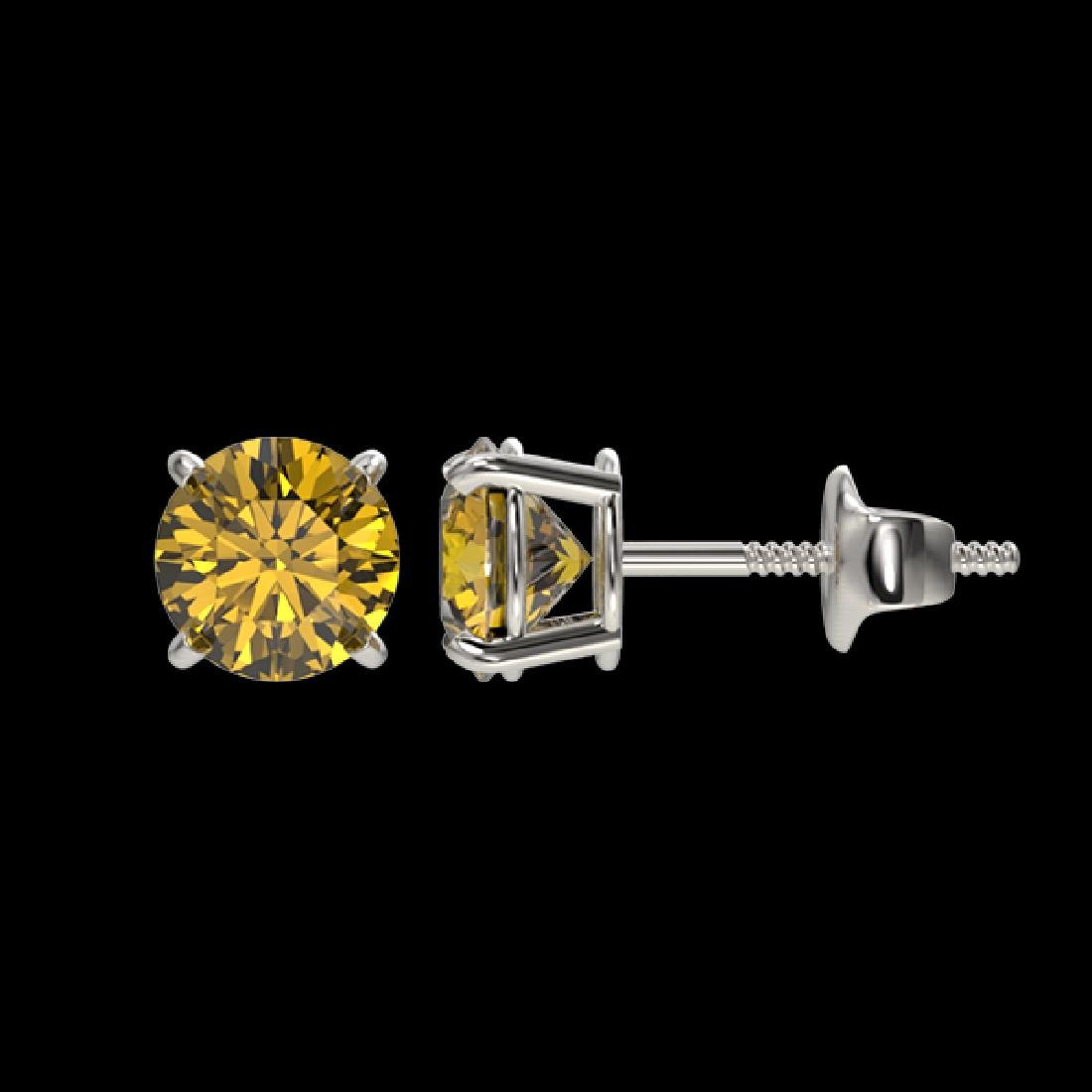 1.08 CTW Certified Intense Yellow SI Diamond Solitaire - 2