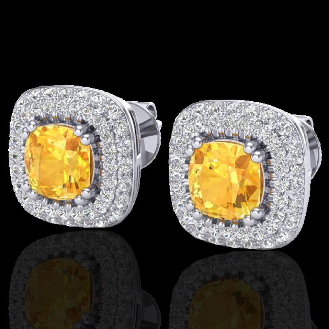 2.16 CTW Citrine & Micro VS/SI Diamond Earrings Double