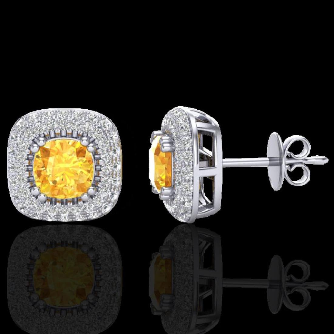 2.16 CTW Citrine & Micro VS/SI Diamond Earrings Double - 2