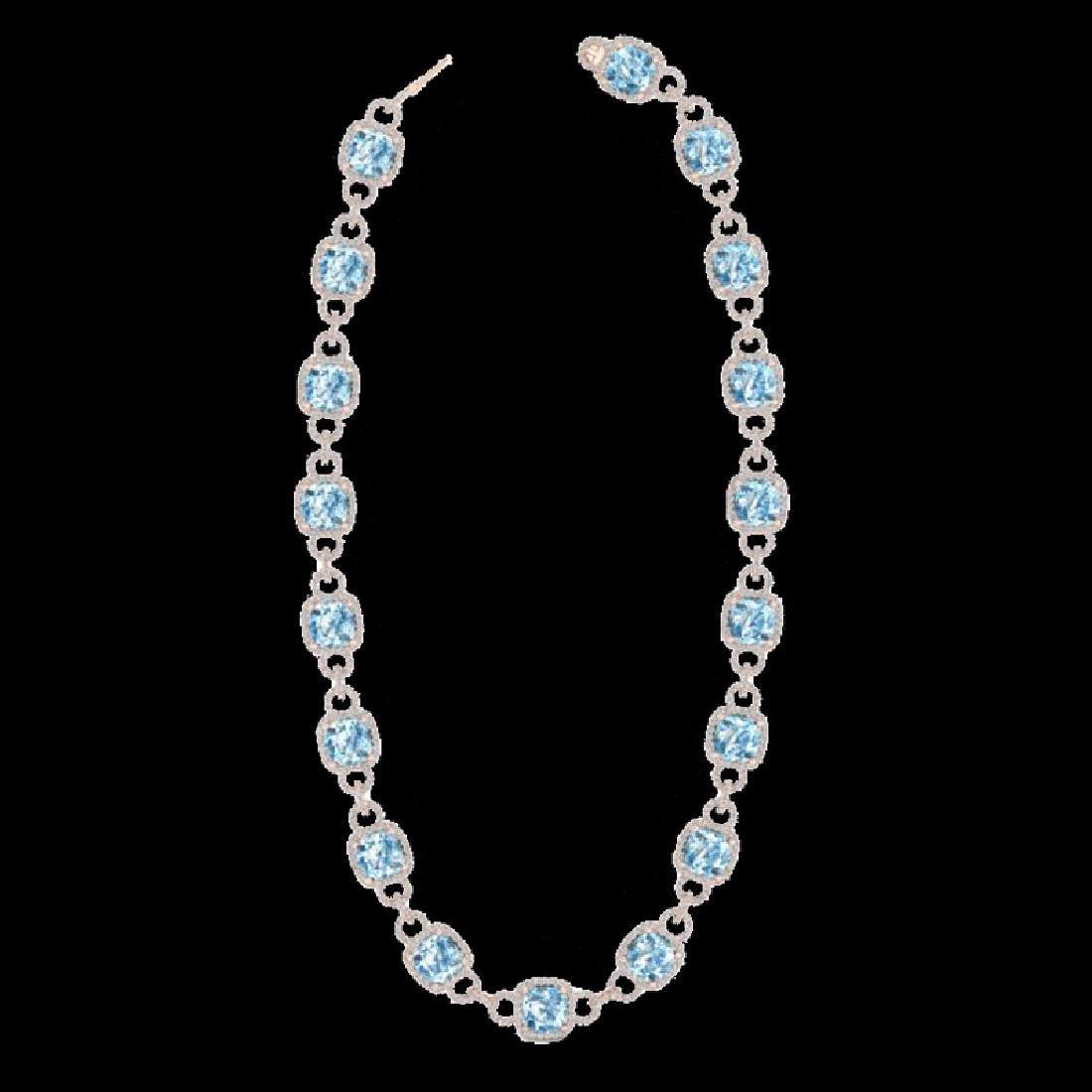 66 CTW Topaz & Micro VS/SI Diamond Eternity Necklace - 2
