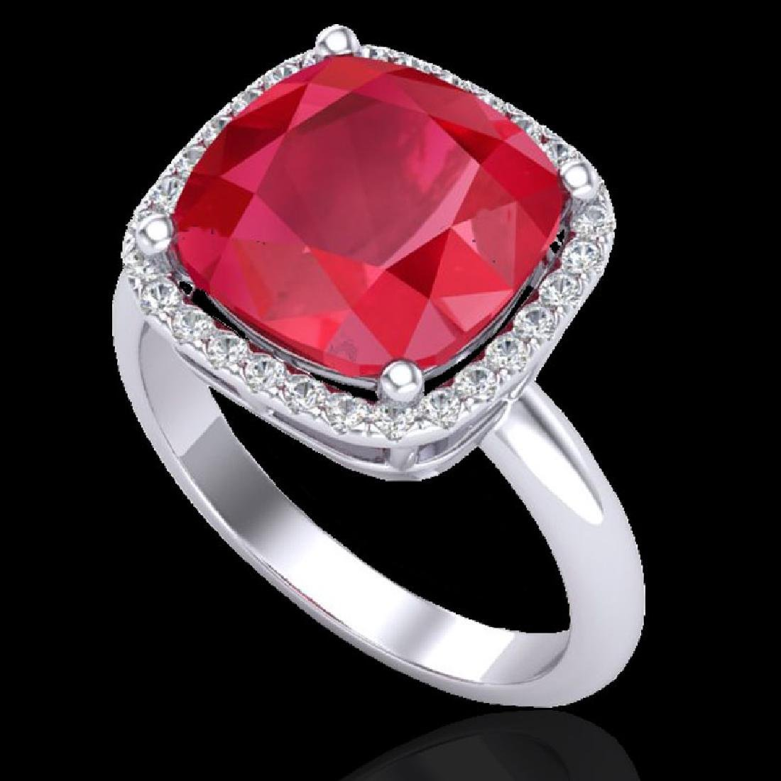 6 CTW Ruby & Micro Pave Halo VS/SI Diamond Ring 18K - 2