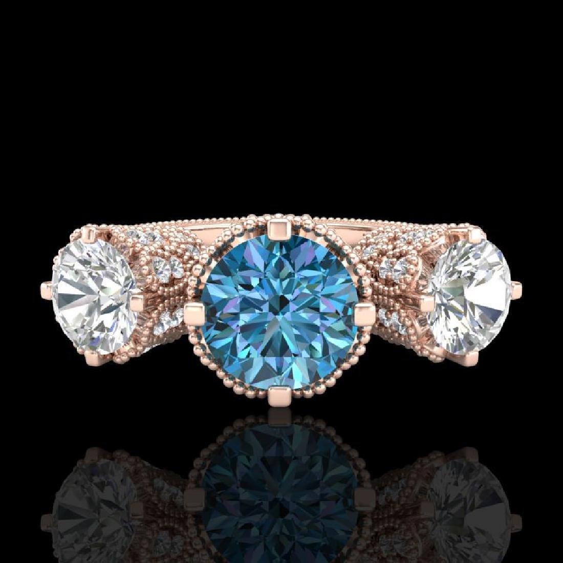 3.06 CTW Fancy Intense Blue Diamond Art Deco 3 Stone - 2