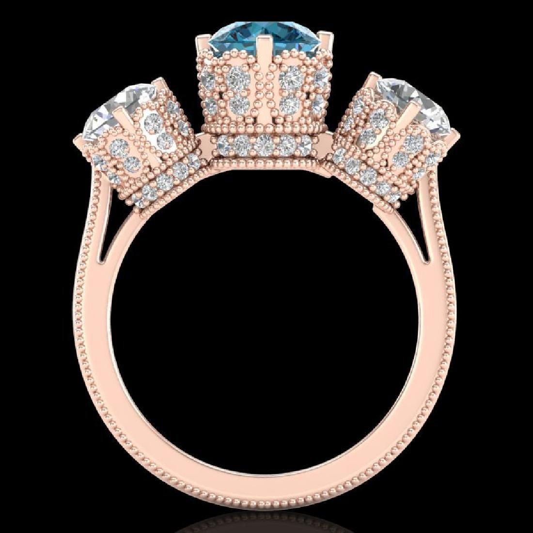 3.06 CTW Fancy Intense Blue Diamond Art Deco 3 Stone - 3