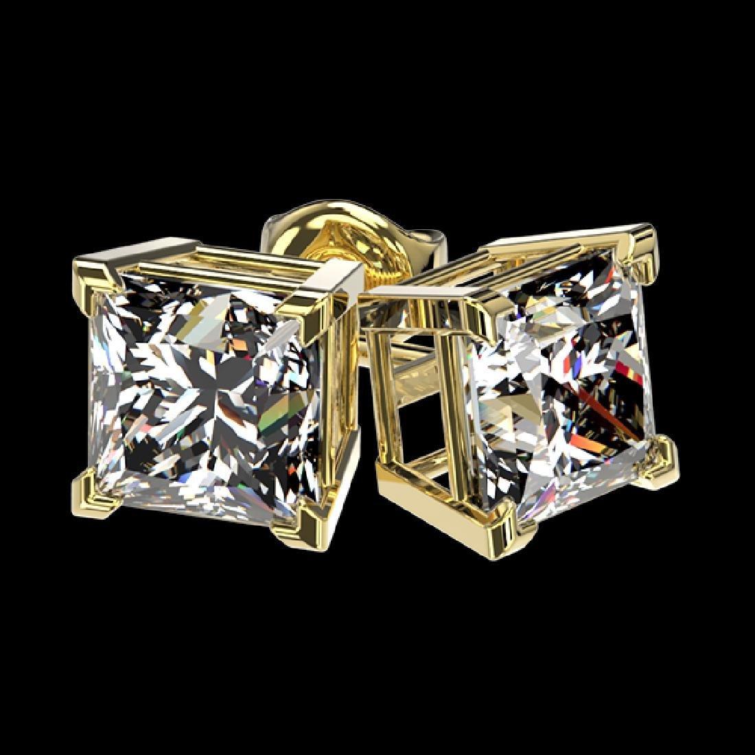 2 CTW Certified VS/SI Quality Princess Diamond Stud - 3