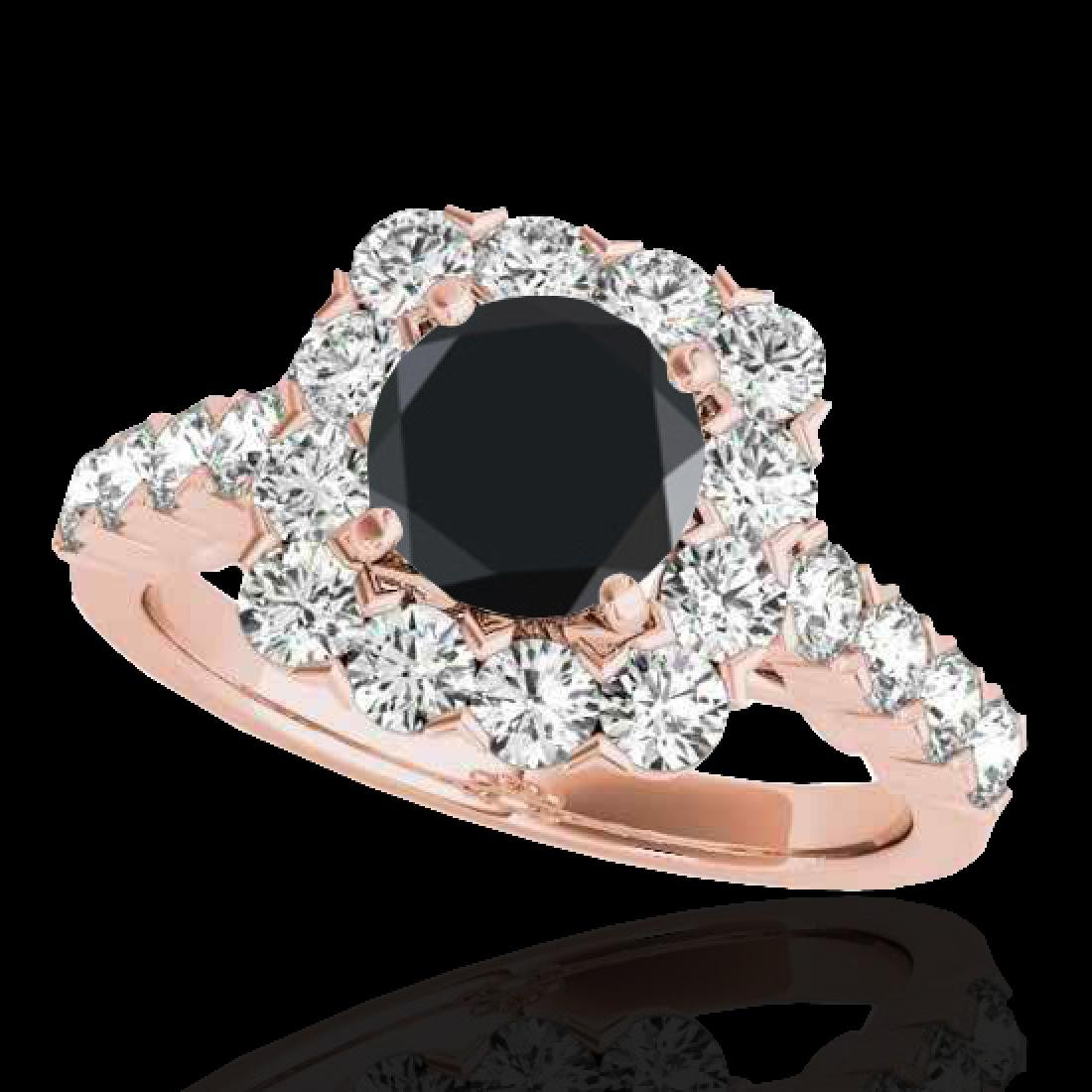 2.5 CTW Certified VS Black Diamond Solitaire Halo Ring