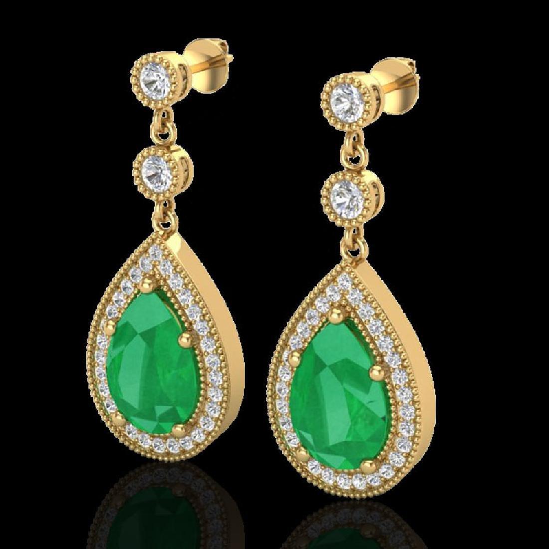 6 CTW Emerald & Micro Pave VS/SI Diamond Earrings
