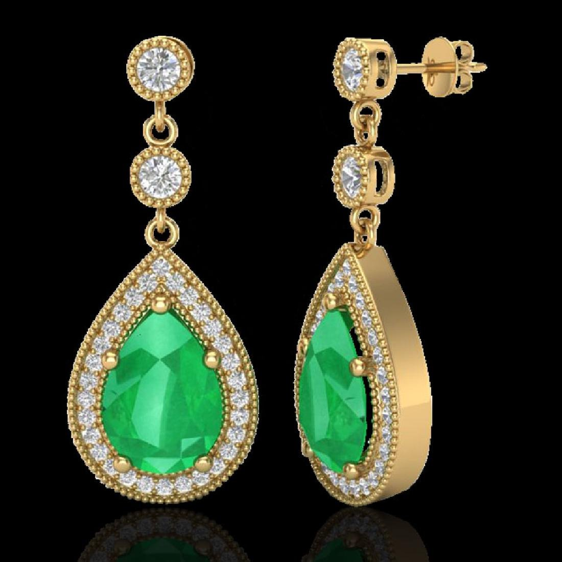 6 CTW Emerald & Micro Pave VS/SI Diamond Earrings - 2