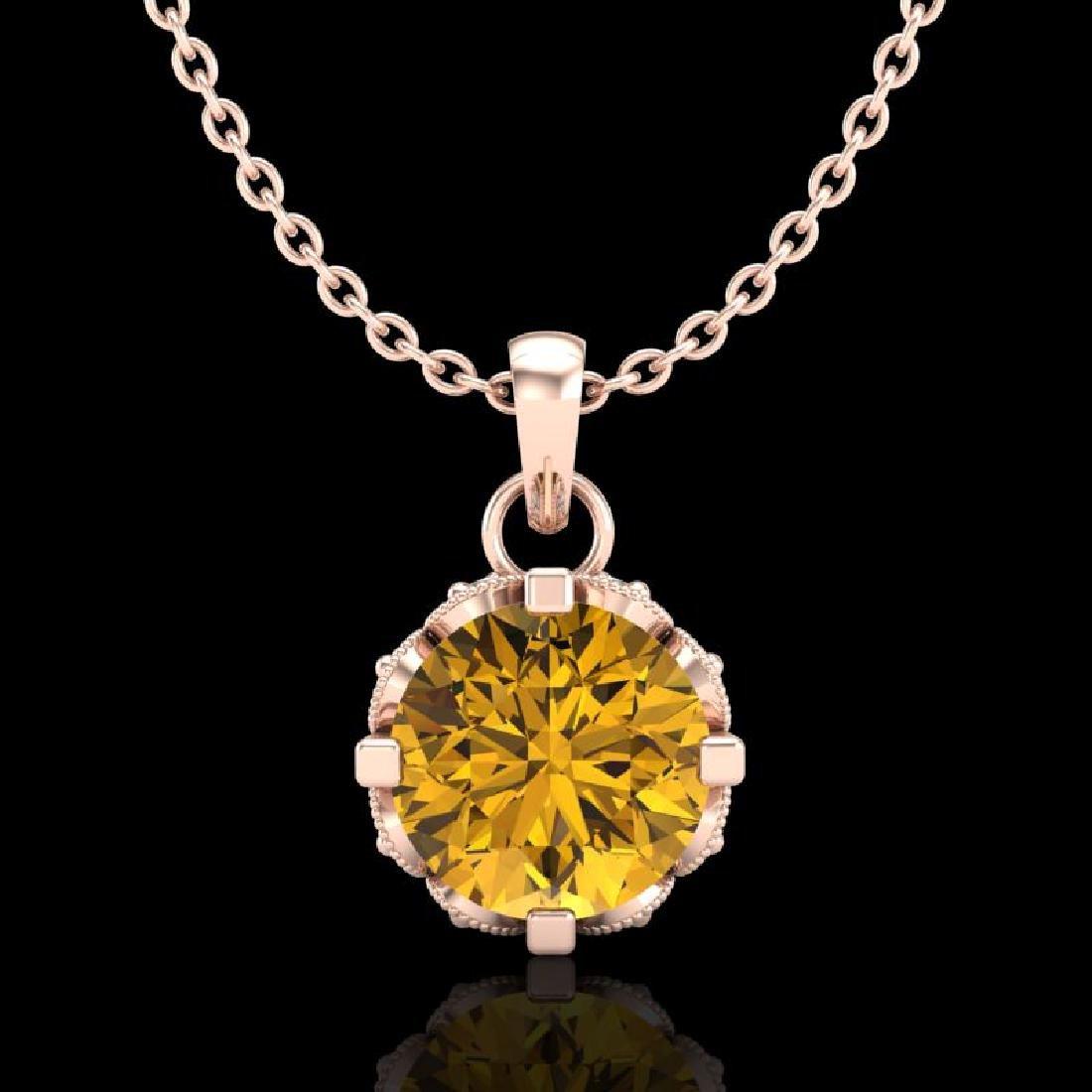 0.85 CTW Intense Fancy Yellow Diamond Art Deco Stud