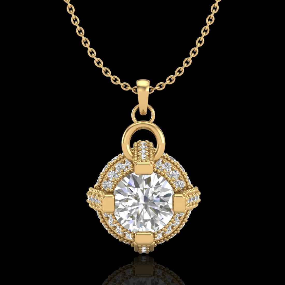 1.57 CTW VS/SI Diamond Micro Pave Stud Necklace 18K