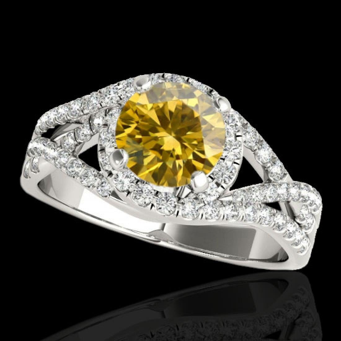 2 CTW Certified Si Fancy Intense Diamond Solitaire Halo