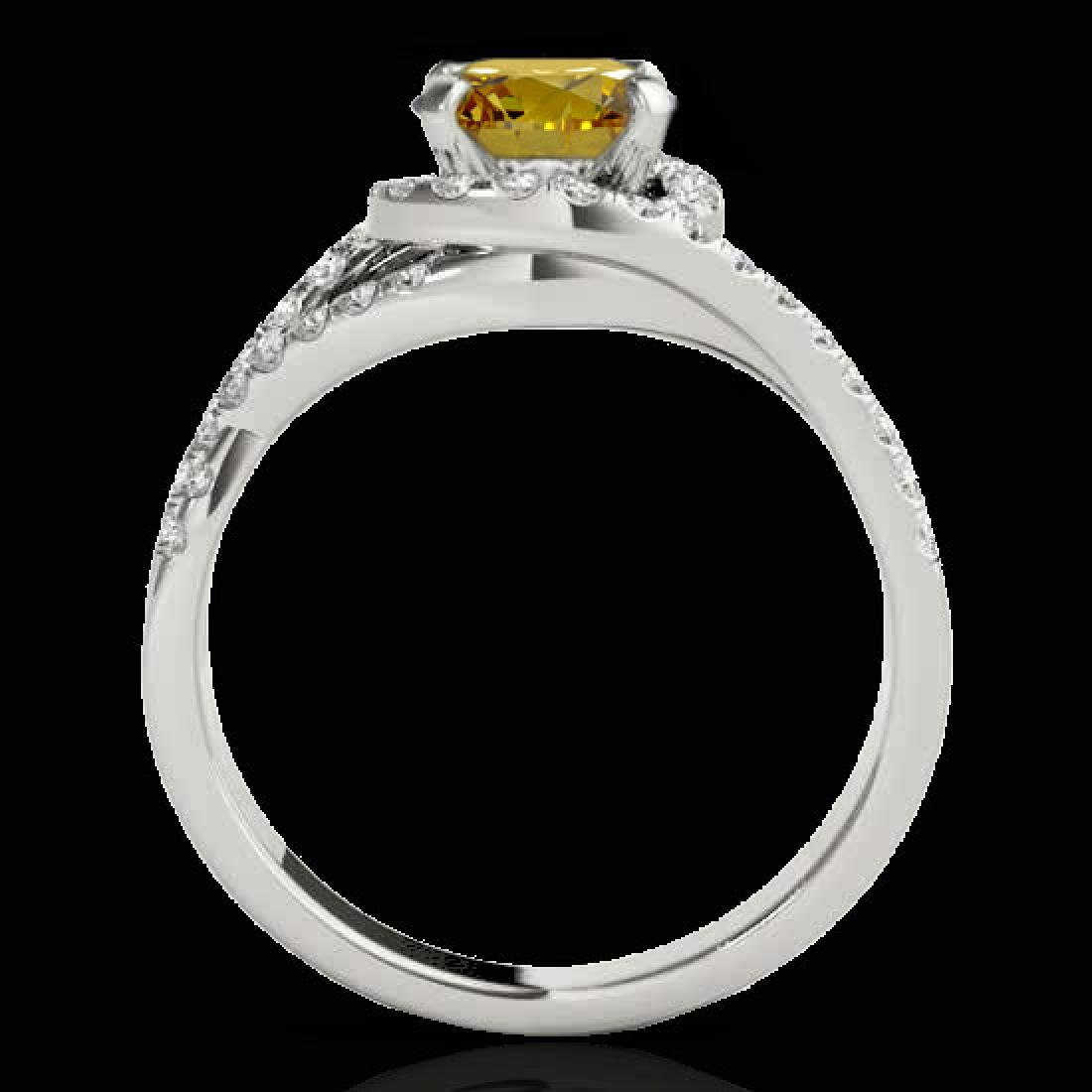 2 CTW Certified Si Fancy Intense Diamond Solitaire Halo - 2