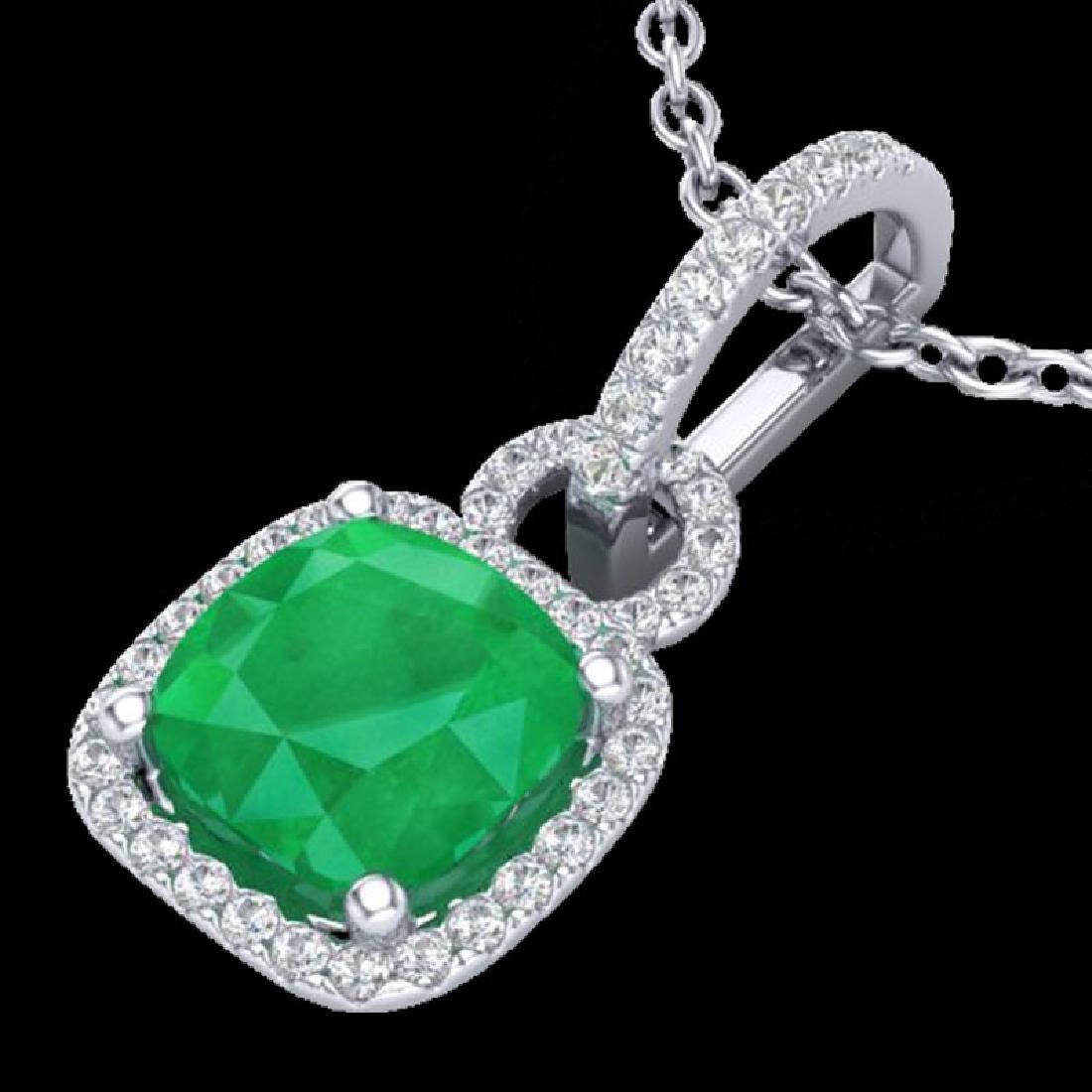 3 CTW Emerald & Micro VS/SI Diamond Necklace 18K White