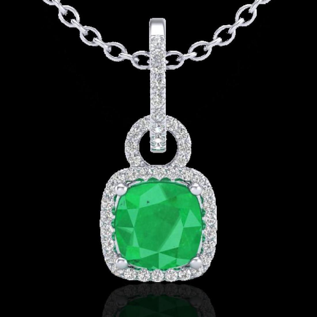 3 CTW Emerald & Micro VS/SI Diamond Necklace 18K White - 2