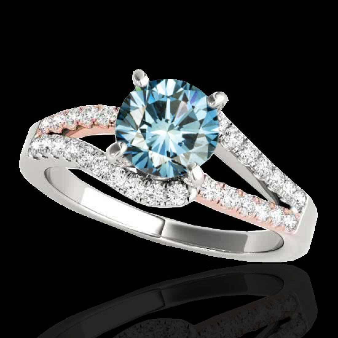 1.65 CTW SI Certified Blue Diamond Solitaire Ring 10K