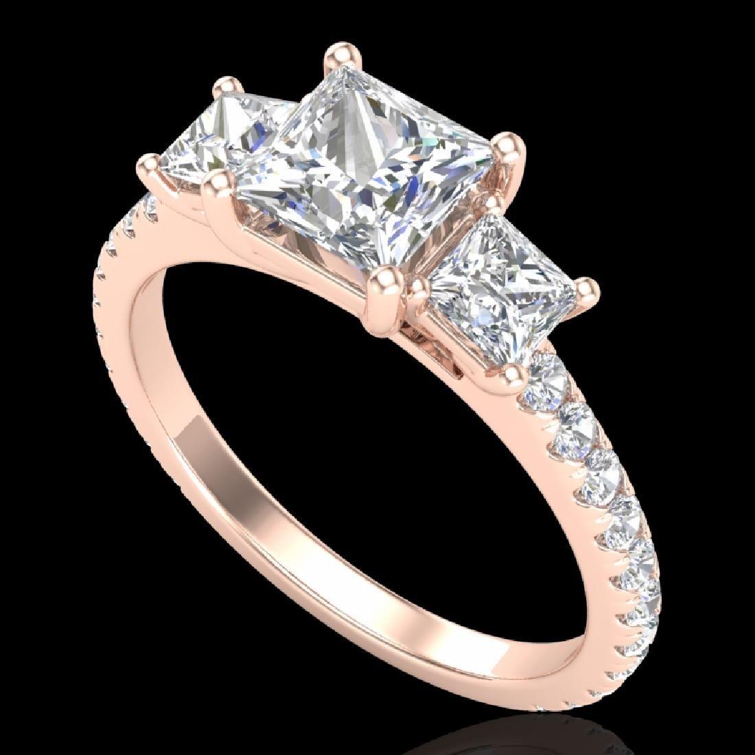 2.14 CTW Princess VS/SI Diamond Art Deco 3 Stone Ring