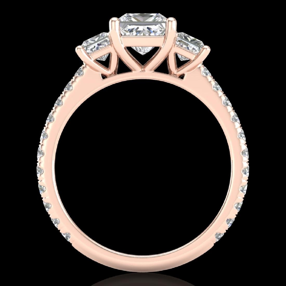 2.14 CTW Princess VS/SI Diamond Art Deco 3 Stone Ring - 2