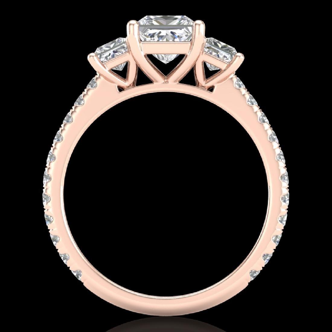 2.14 CTW Princess VS/SI Diamond Art Deco 3 Stone Ring - 2