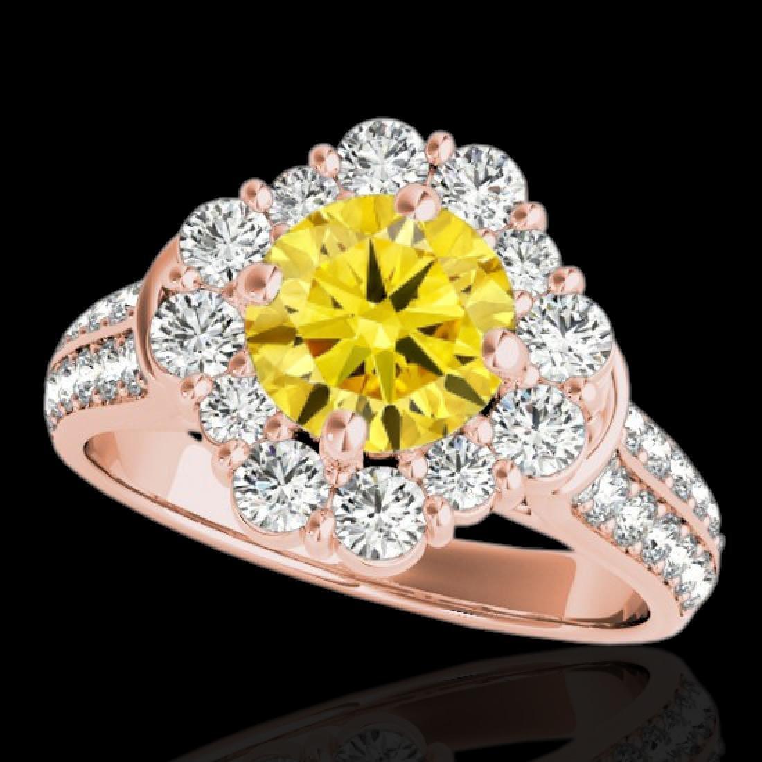 2.16 CTW Certified SI/I Fancy Intense Yellow Diamond
