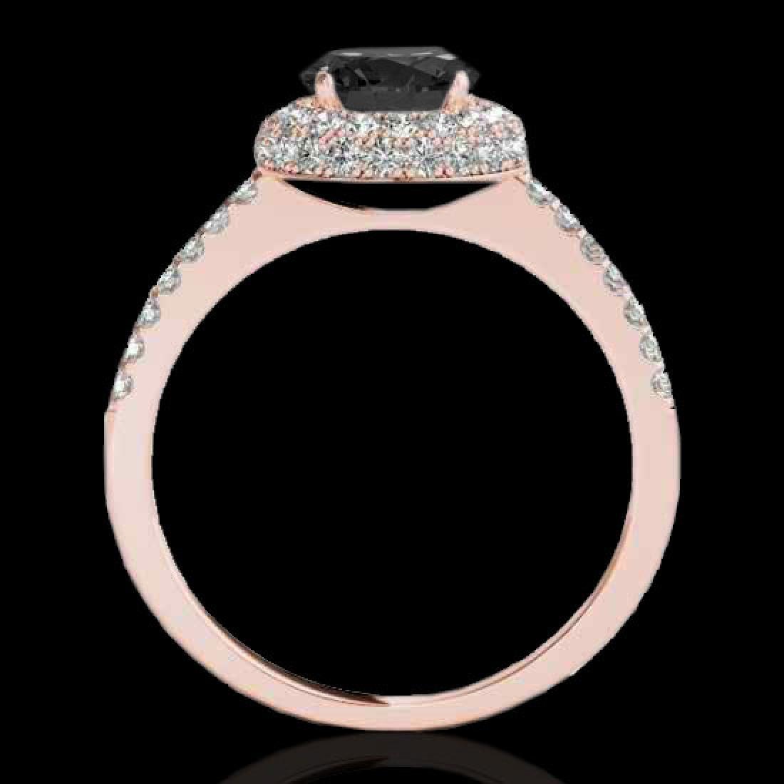 1.6 CTW Certified VS Black Diamond Solitaire Halo Ring - 2