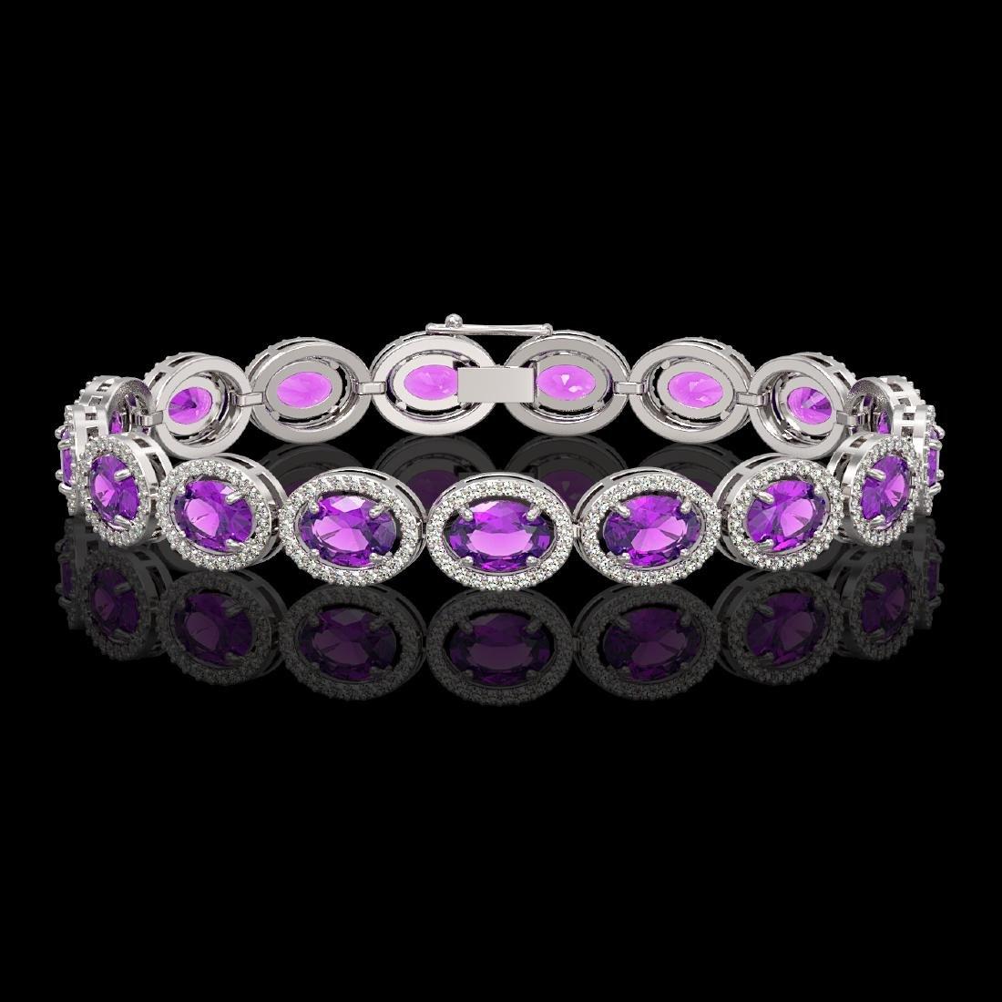 19.82 CTW Amethyst & Diamond Halo Bracelet 10K White