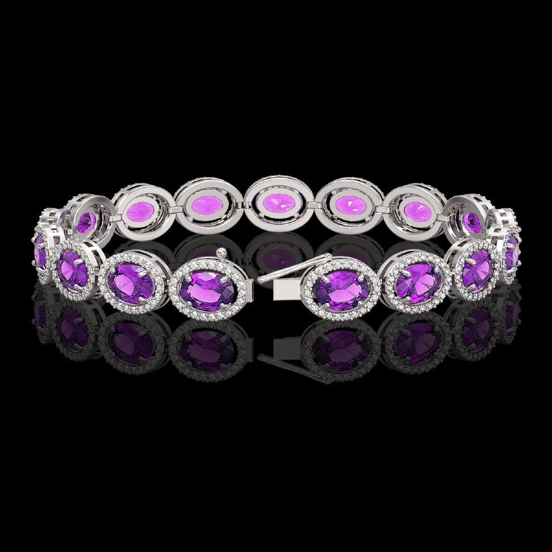 19.82 CTW Amethyst & Diamond Halo Bracelet 10K White - 2