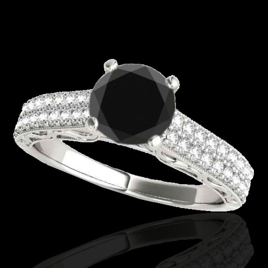 1.41 CTW Certified VS Black Diamond Solitaire Antique