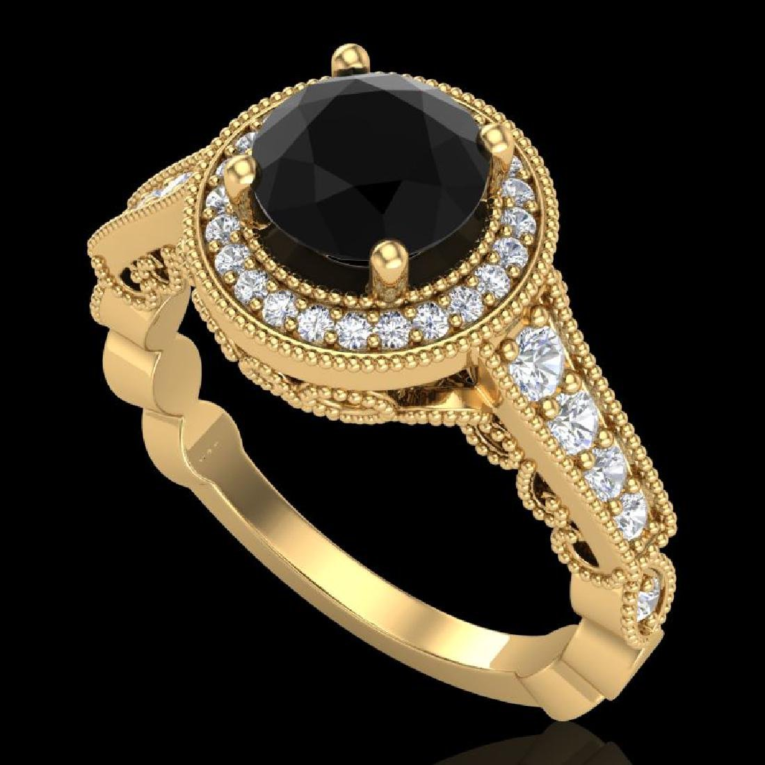 1.91 CTW Fancy Black Diamond Solitaire Engagement Art