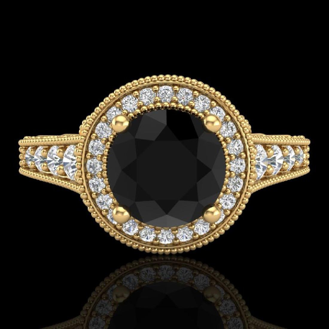 1.91 CTW Fancy Black Diamond Solitaire Engagement Art - 2