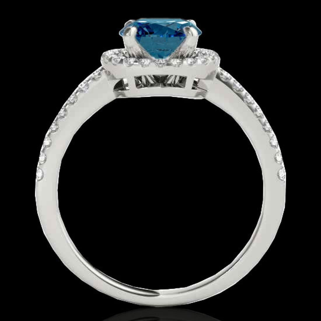 1.4 CTW SI Certified Fancy Blue Diamond Solitaire Halo