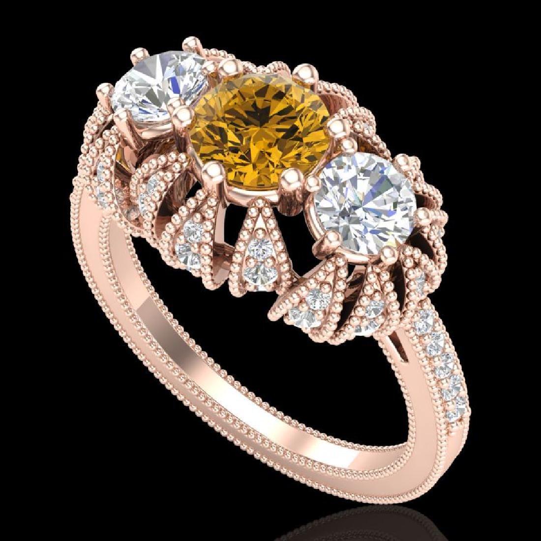 2.26 CTW Intense Fancy Yellow Diamond Art Deco 3 Stone