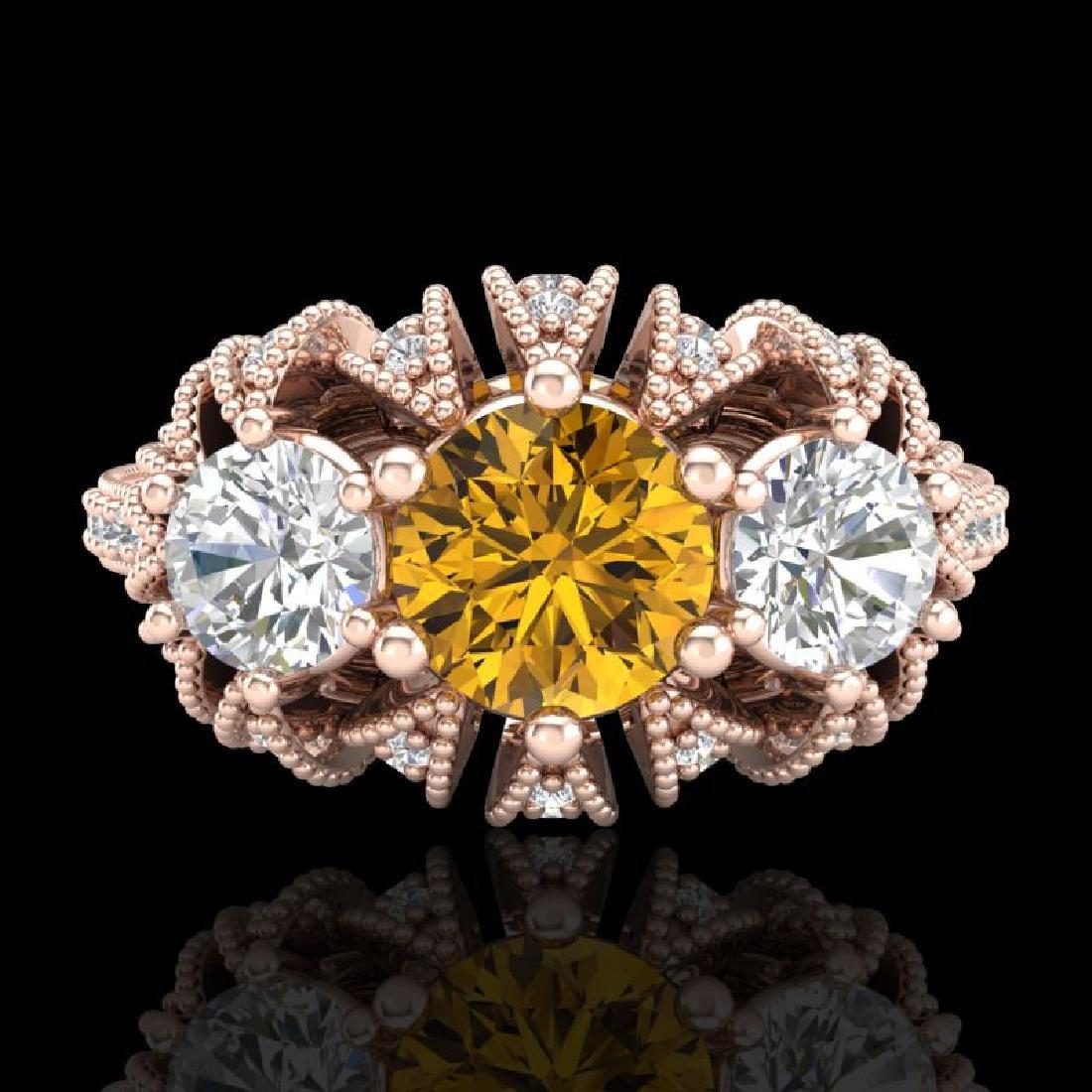 2.26 CTW Intense Fancy Yellow Diamond Art Deco 3 Stone - 2