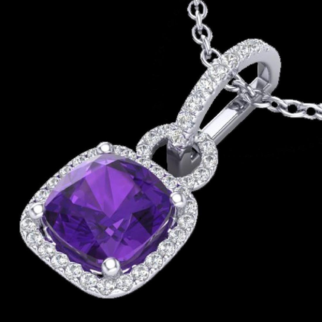 3.50 CTW Amethyst & Micro VS/SI Diamond Necklace 18K