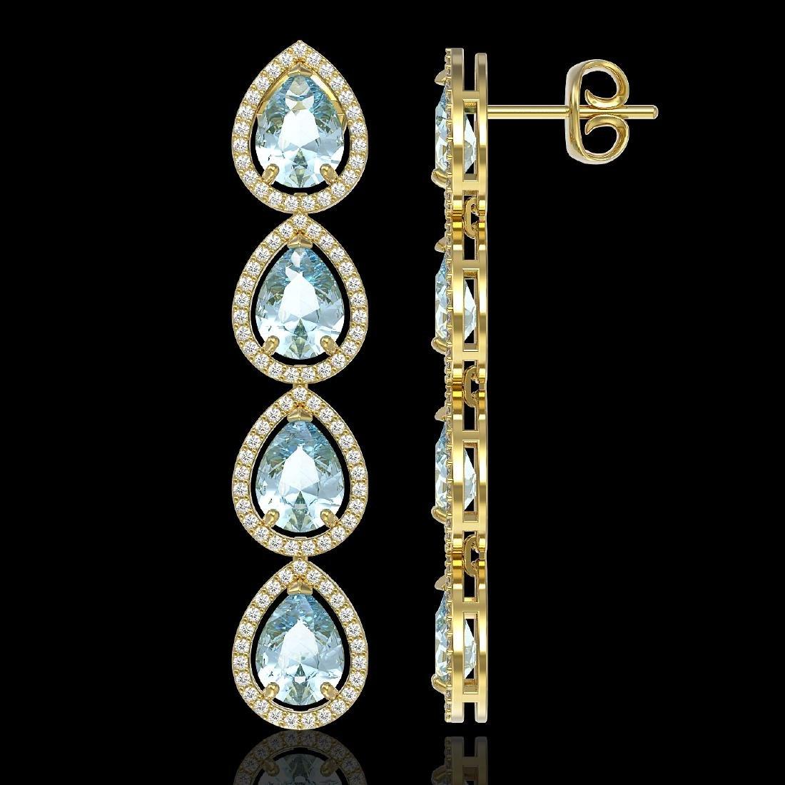 10.4 CTW Sky Topaz & Diamond Halo Earrings 10K Yellow - 2