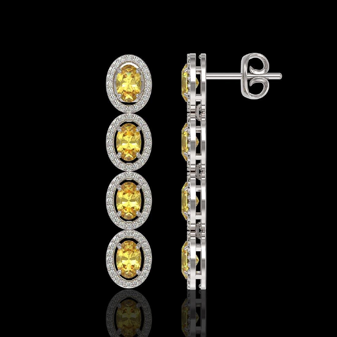 5.4 CTW Fancy Citrine & Diamond Halo Earrings 10K White - 2