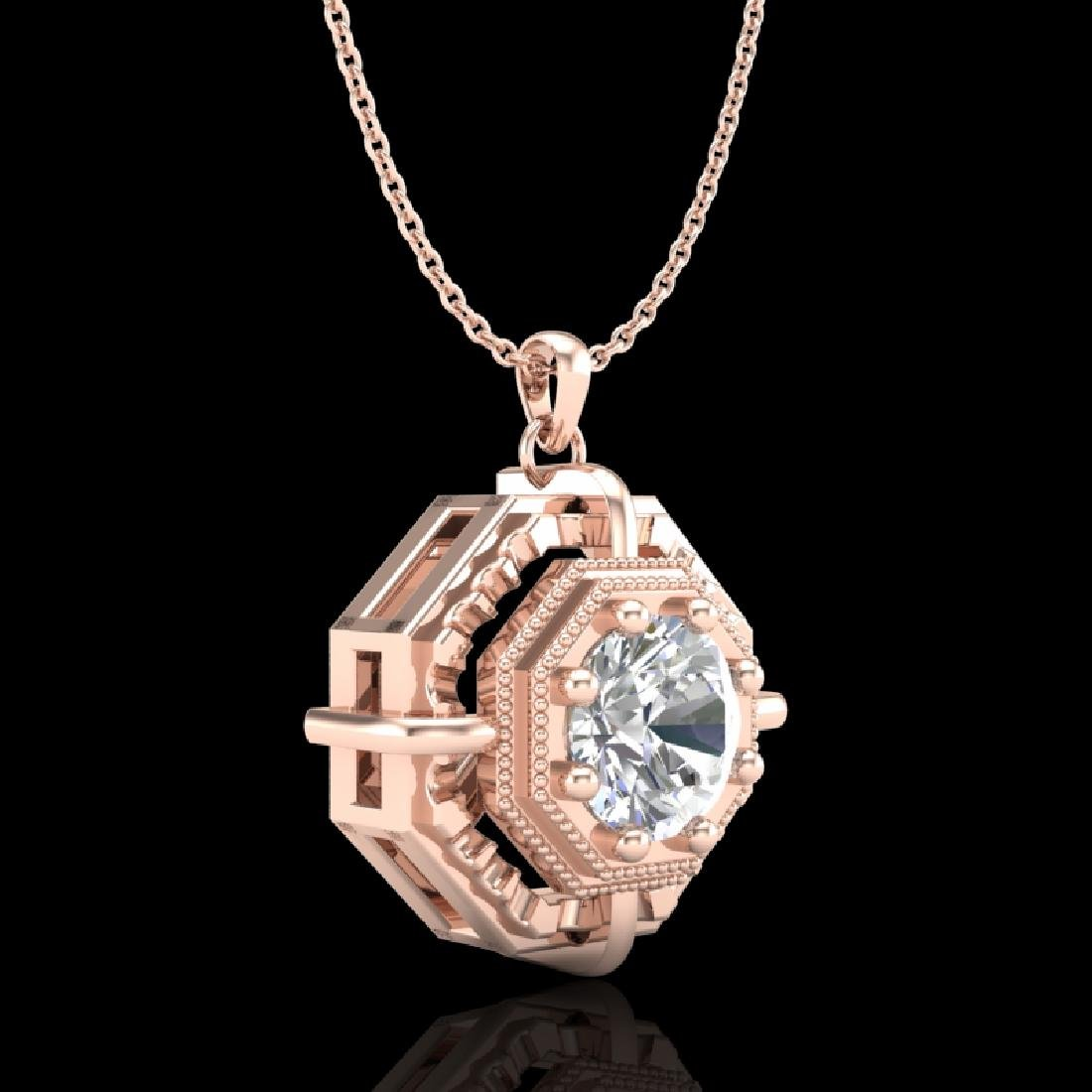0.75 CTW VS/SI Diamond Solitaire Art Deco Stud Necklace - 3